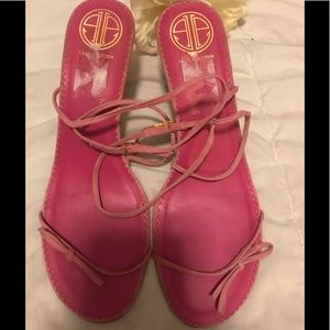 Lilly Pulitzer pink suede strappy sandals
